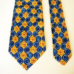 CANALI Silk Gold Blue Floral Geometric Stripe Tie
